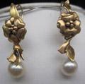 Gold Dbl Flower Pearl Ear 2